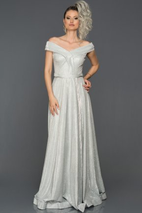 Long Silver Engagement Dress AB7589