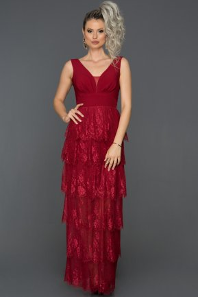 Long Burgundy Prom Gown AB7593