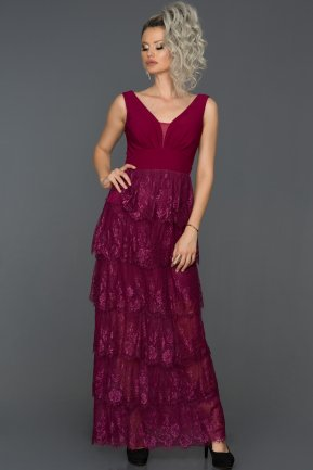 Long Plum Prom Gown ABU155