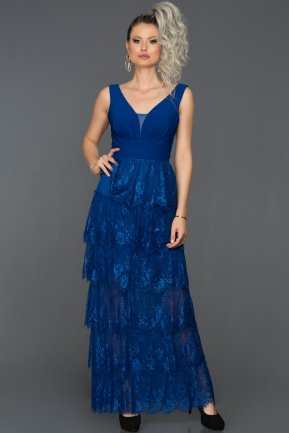 Long Sax Blue Prom Gown ABU155