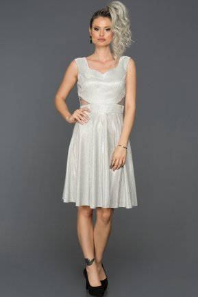 Short Silver Prom Gown AB8161