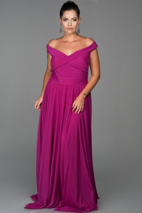 Long Fuchsia Oversized Evening Dress AB1163