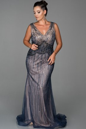 Long Navy Blue Plus Size Evening Dress AB679