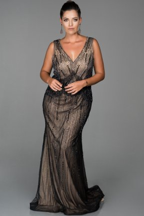 Long Black Plus Size Evening Dress AB679