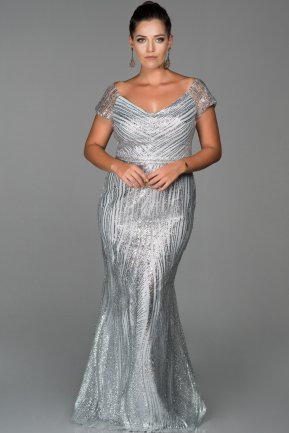 Long Silver Plus Size Evening Dress AB4670