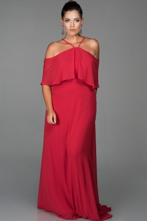 Long Red Oversized Evening Dress ABU470