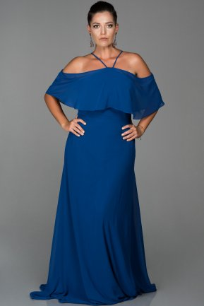 Long Sax Blue Oversized Evening Dress AB9341
