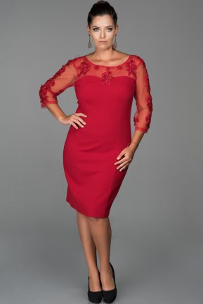 Short Red Oversized Evening Dress ABK103