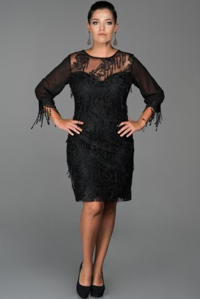 Short Black Plus Size Evening Dress ABK039