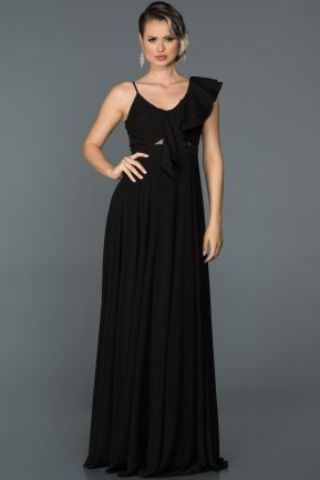 Long Black Engagement Dress ABU476