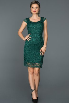 Short Emerald Green Evening Dress ABK010