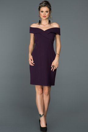 Short Purple Invitation Dress AB608