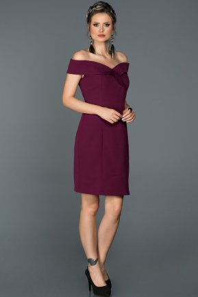 Short Plum Invitation Dress AB608