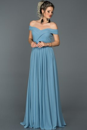 Long Blue Prom Gown ABU021