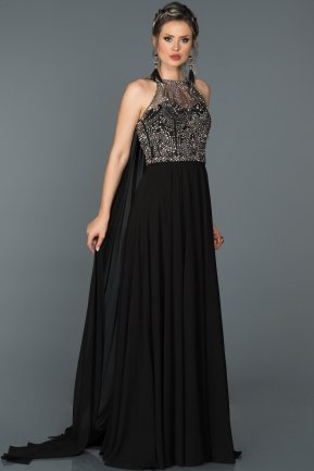 Tail Black Engagement Dress ABU051