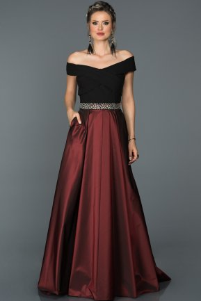 Long Burgundy Engagement Dress ABU205