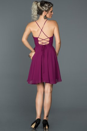 Short Plum Prom Gown ABK001