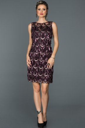 Short Plum-Silver Evening Dress AB98832