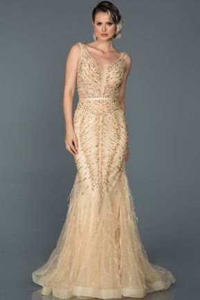Long Gold Mermaid Prom Dress ABU055