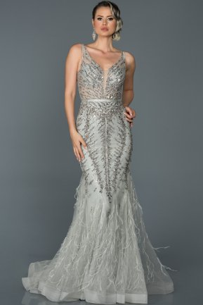 Long Grey Mermaid Prom Dress ABU055