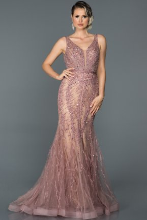 Long Rose Colored Mermaid Prom Dress ABU055