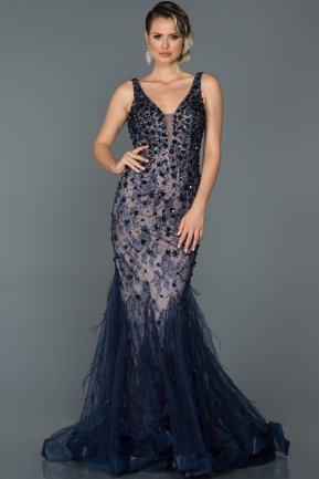 Long Navy Blue Mermaid Prom Dress ABU094