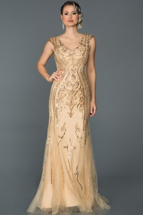 Long Gold Mermaid Prom Dress ABU069