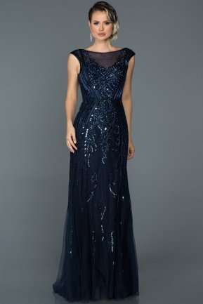 Long Navy Blue Mermaid Prom Dress ABU069