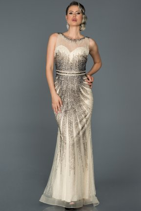 Long Beige Engagement Dress ABU118