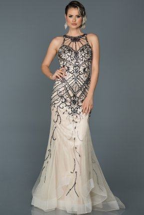 Long Beige Mermaid Prom Dress ABU109