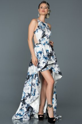 Front Short Back Long Blue Flowers Engagement Dress ABO005