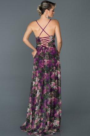 Long Purple Prom Gown ABU023