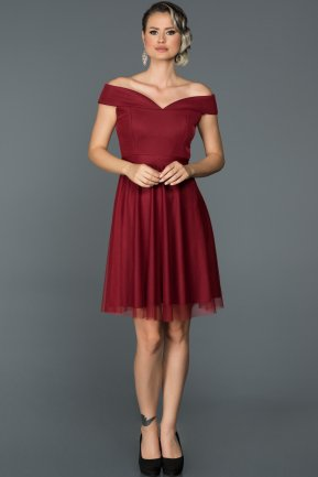 Short Burgundy Invitation Dress ABK015