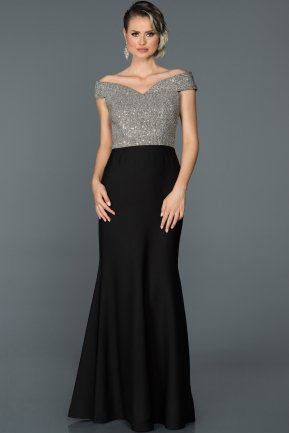 Long Black-Silver Mermaid Prom Dress B3456