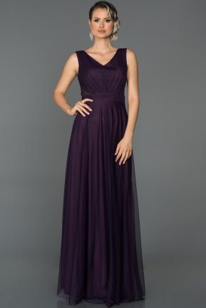 Long Dark Purple Evening Dress ABU056