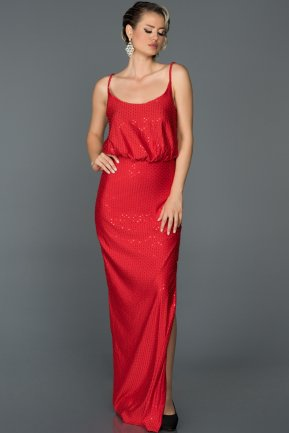Long Red Engagement Dress ABU197