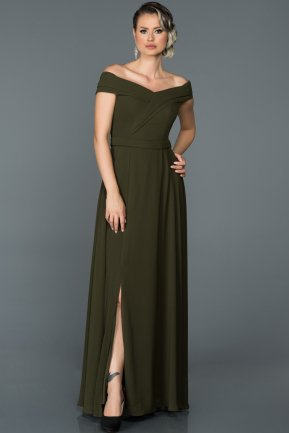 Long Olive Drab Engagement Dress ABU057