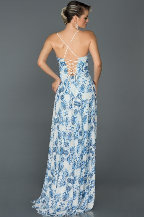 Long Sax Blue Prom Gown ABU026