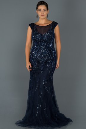 Long Navy Blue Plus Size Evening Dress Abu463 Abiyefon