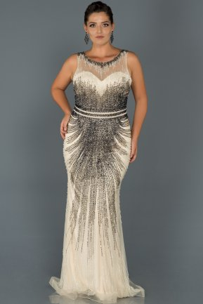 Long Beige Oversized Evening Dress AB65258