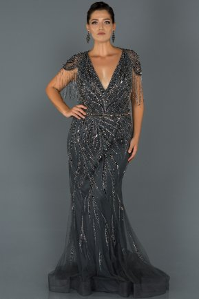 Long Antrasite Oversized Evening Dress AB77092