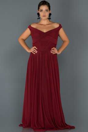 Long Burgundy Oversized Evening Dress AB1163