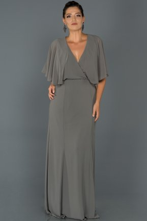 Long Antrasit Oversized Evening Dress AB4369