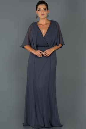 Long İndigo Oversized Evening Dress AB4369