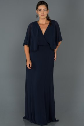 Long Navy Blue  Oversized Evening Dress AB4369