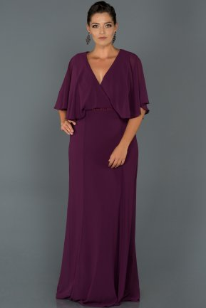 Long Plum Oversized Evening Dress AB4369