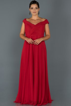 Long Red Oversized Evening Dress AB7157