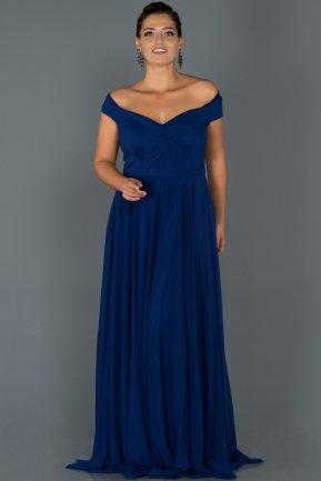 Long Sax Blue Oversized Evening Dress AB7157