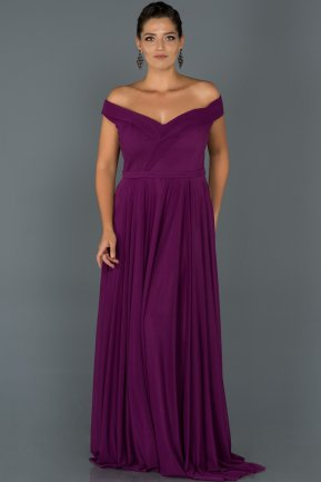 Long Purple Oversized Evening Dress AB7157