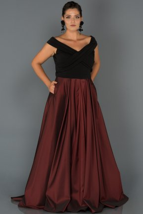 Long Burgundy Oversized Evening Dress AB1073